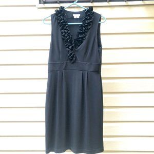 UNAVAILABLE ❌ London Times | Black Ruffle V-neck Dress
